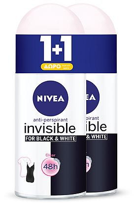 Αποσμητικό Rollon Nivea Black & White Clear Invisible 50ml 1+1 Δώρο