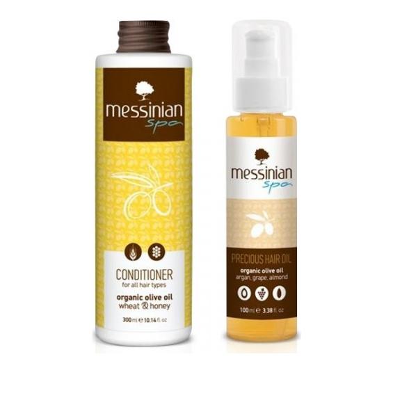 Messinian Spa Promo Precious Hair Oil Argan Grape-Almond 100ml & ΔΩΡΟ  Conditioner All Types Wheat-Honey (Σιτάρι-Μέλι) 300ml