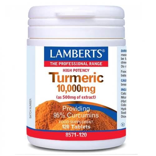 Lamberts Turmeric 10,000mg, Κουρκουμίνη με Αντιφλεφμονώδη Δράση για τις Αρθρώσεις, 120 Tablets