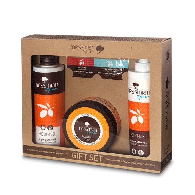 Messinian Spa Shower Gel Orange 300ml & Body Milk 300ml & Face Body Scrub 250ml (Πορτοκάλι)