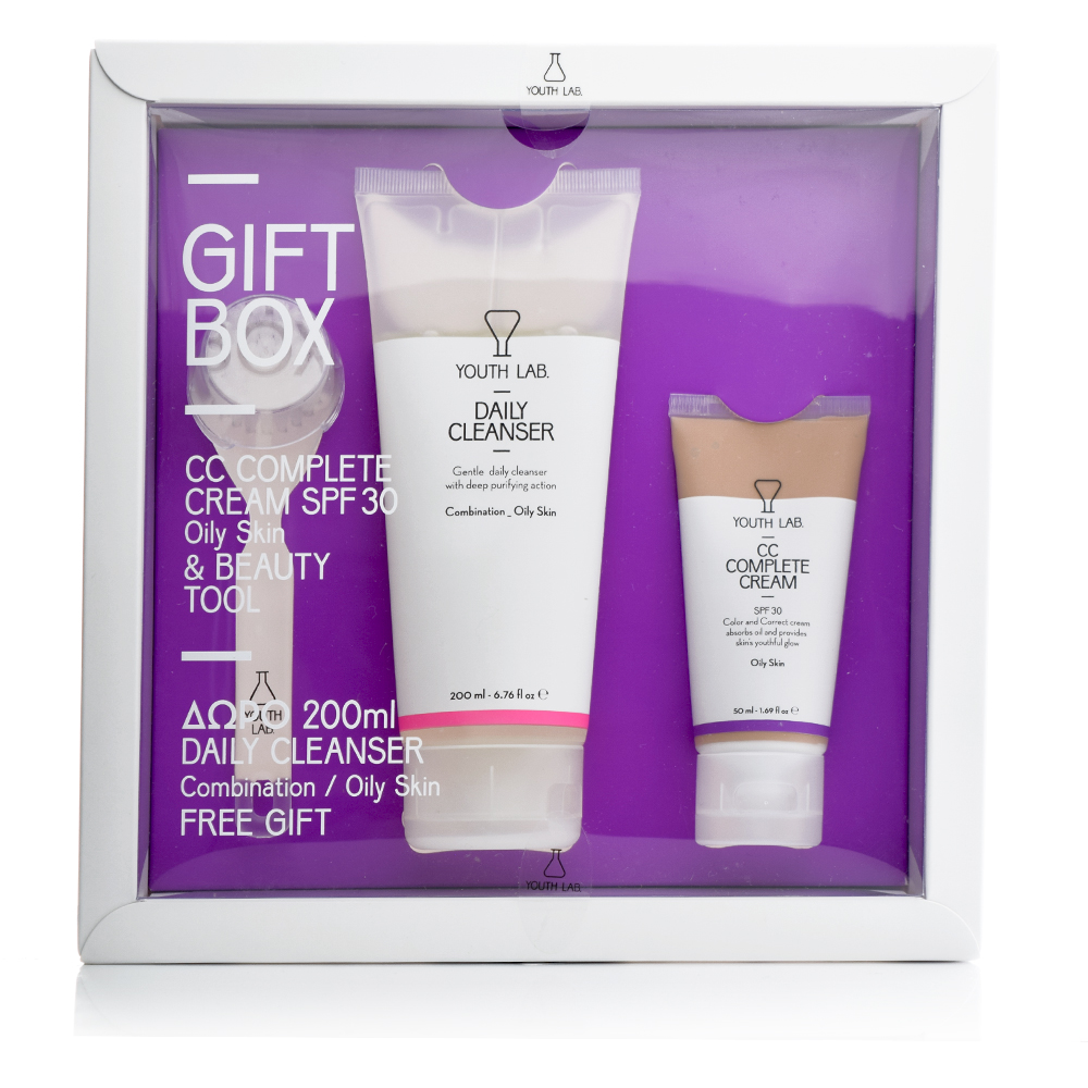 Youth Lab Spring Gift Box Oily Skin, Daily Cleanser & CC Complete Cream SPF30 & Beauty Tool
