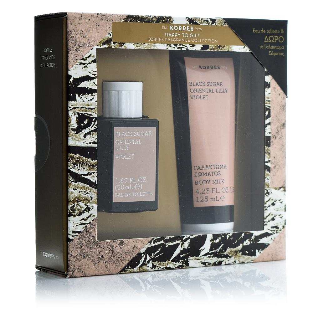 Korres Promo Black Sugar Oriental Lilly Violet Eau De Toilette 50ml & ΔΩΡΟ Body Milk 125ml