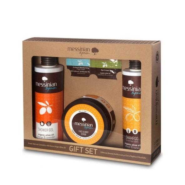 Messinian Spa Shower Gel Orange 300ml & Shampoo all Types 300ml & Face & Body Scrub 250ml