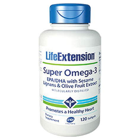 Life Extension Super Omega-3 EPA/DHA With Sesame Lignans And Olive Fruit Extract, 120 Μαλακές Κάψουλες