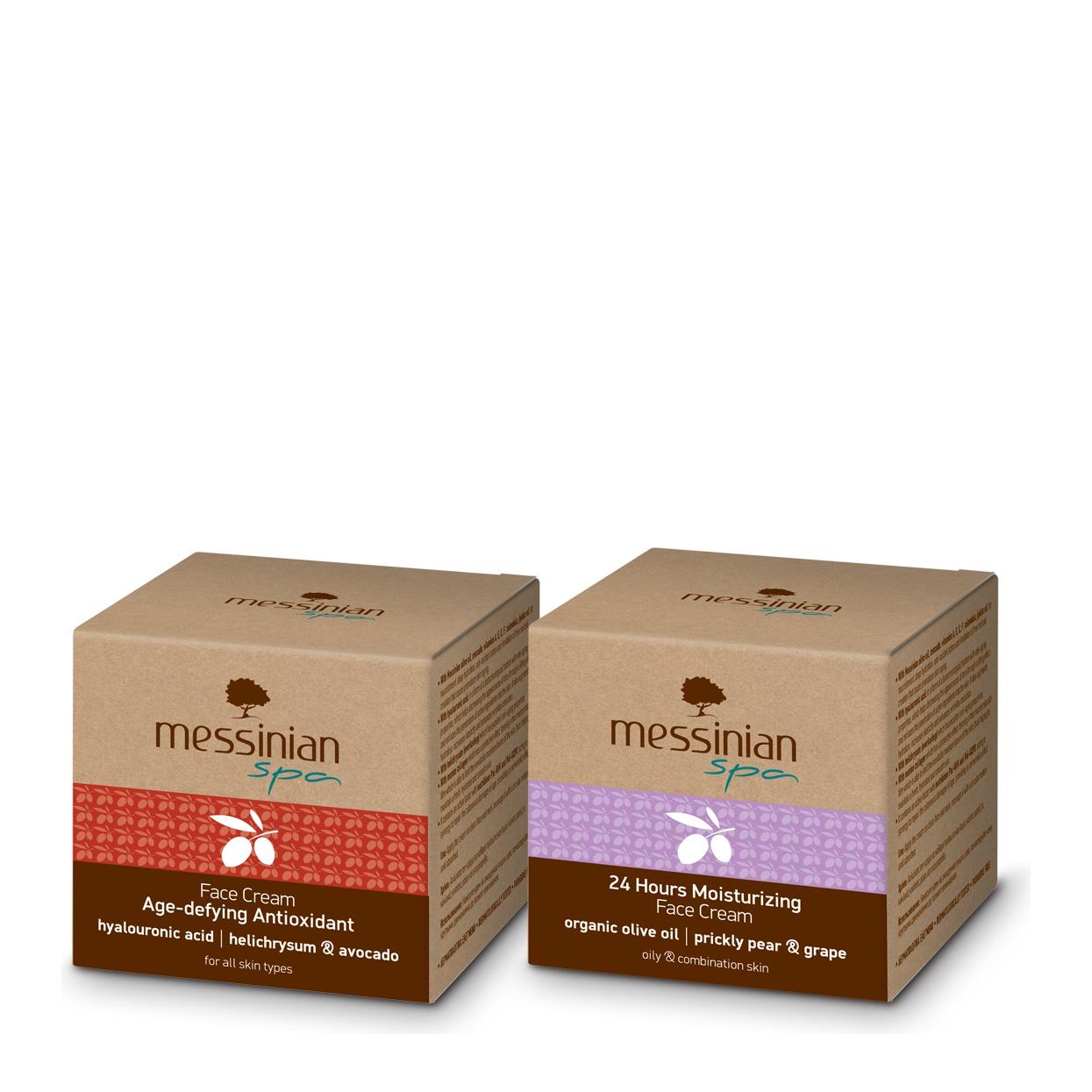 Messinian Spa Anti-Aging Face Cream 50ml &  24h Μoisturizing Face Cream Prickly Pear-Grape for Oily-Combination Skin 50ml