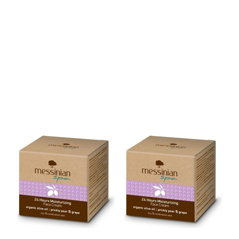 Messinian Spa  24h Μoisturizing Face Cream Prickly Pear-Grape for Oily-Combination Skin 2x50ml