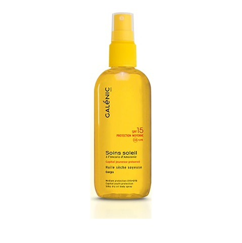 Galenic Soins Soleil Huile Sèche Soyeuse Corps Protection Moyenne SPF15 Αντηλιακό Λάδι Σώματος 150ml