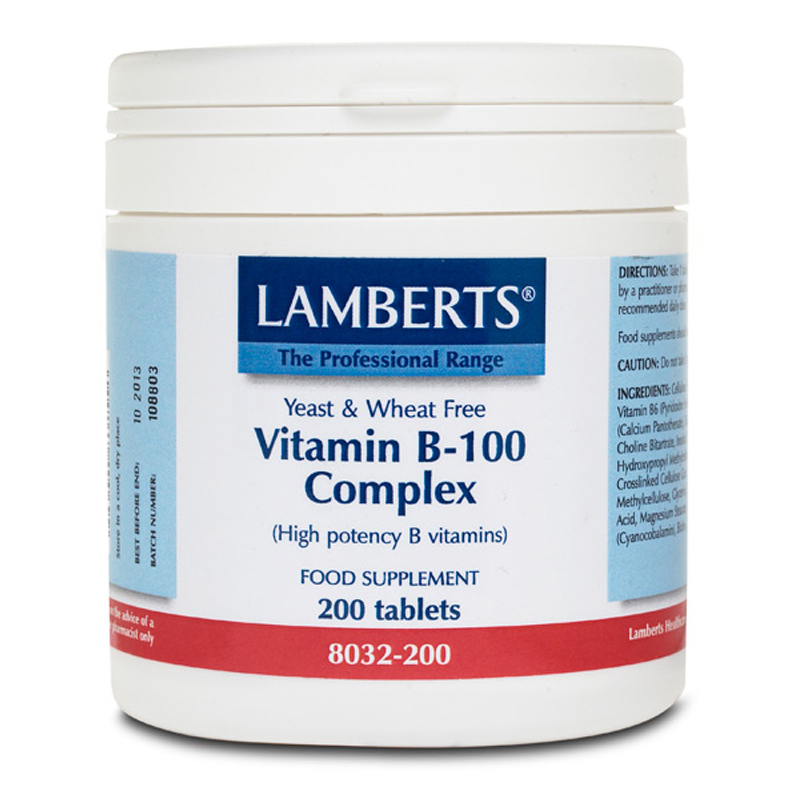Lamberts Vitamin B-100 Complex Σύμπλεγμα Βιταμινών 200 Tablets