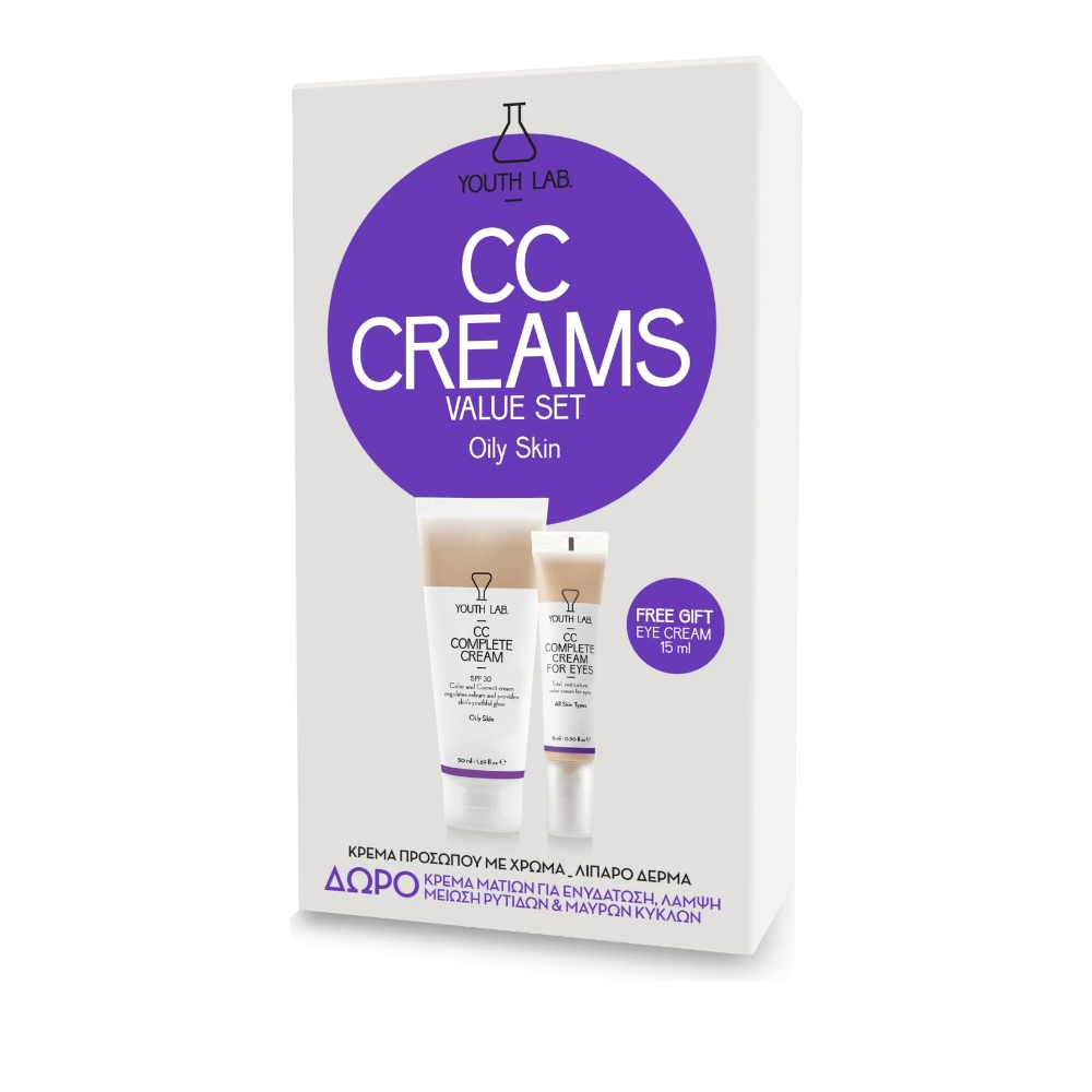 Youth Lab CC Complete Cream SPF30 Oily Skin 50ml & CC Complete Cream for Eyes 15ml