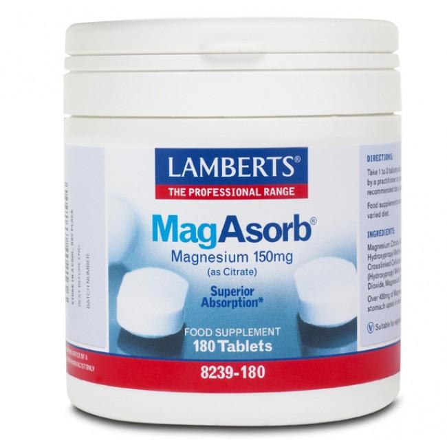 Lamberts MagAsorb Μαγνήσιο Υψηλής Απορρόφησης 180 Tablets