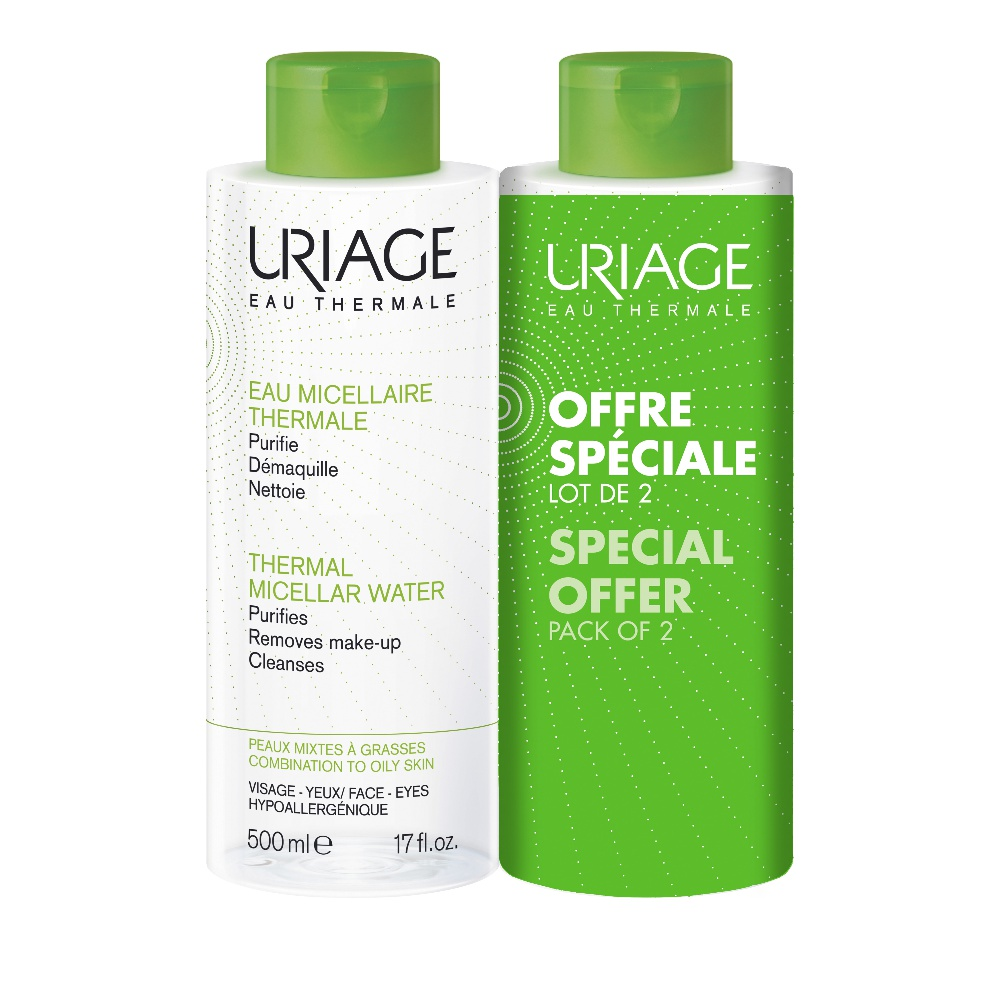 Uriage Promo Eau Micellaire Thermale Peaux Mixtes A Grasses Νερό Καθαρισμού Λιπαρές-Μικτές 2x500ml