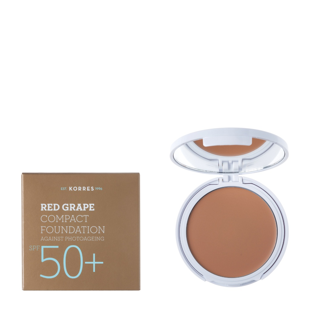 Korres Red Grape Compact Foundation, Medium - Μεσαία Απόχρωση SPF50+,  Αντηλιακό Make-Up με Κόκκινο Σταφύλι, 8gr