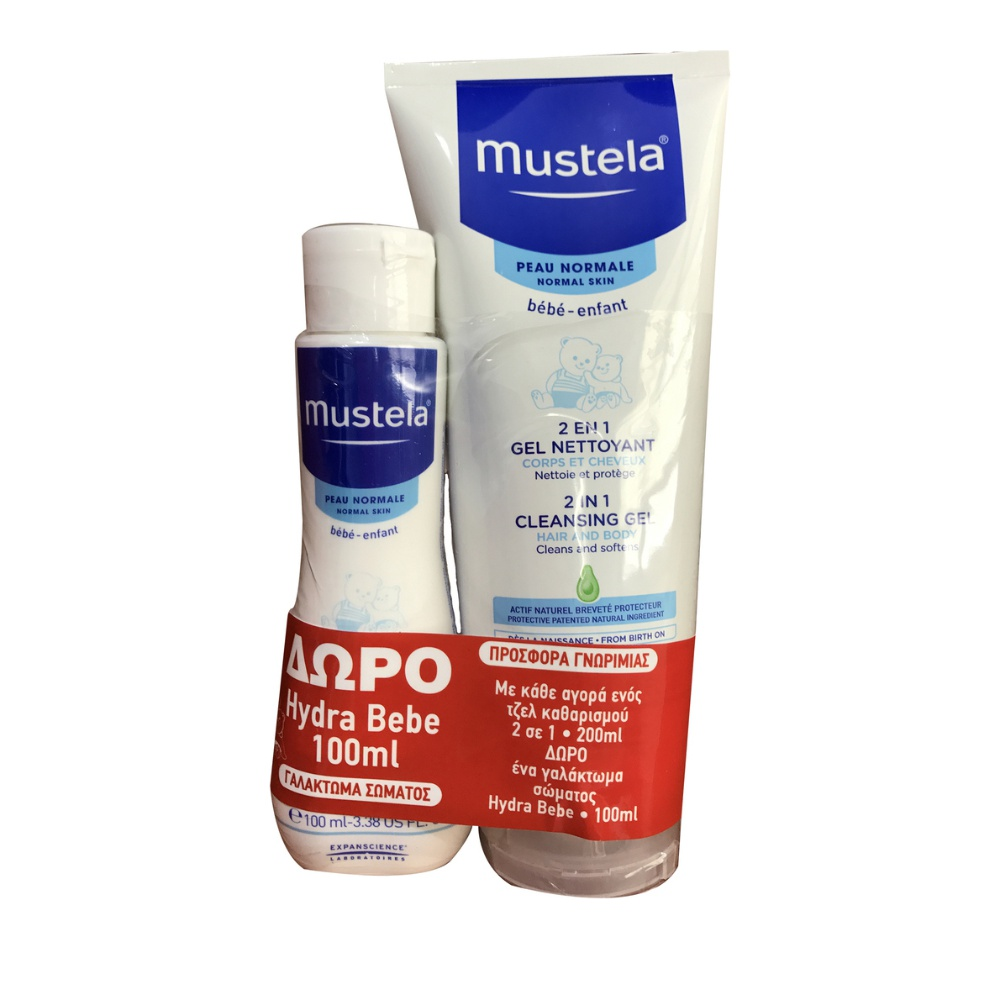 Mustela Cleansing Gel 2 in 1 200ml & ΔΩΡΟ Hydra Bebe Body Lotion 100ml
