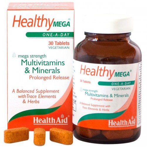 Health Aid Healthy Mega Multivitamins & Minerals, Πολυβιταμίνες & Μέταλλα 30Tabs Vegan