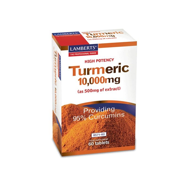 Lamberts Turmeric 10,000mg, Κουρκουμίνη με Αντιφλεφμονώδη Δράση για τις Αρθρώσεις, 60 Tablets