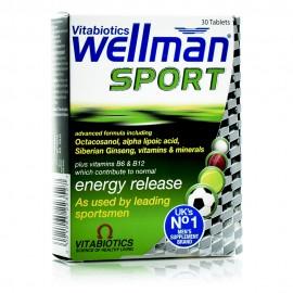 Vitabiotics Wellman Sport, Συμπλήρωμα Διατροφής για Άνδρες που Άθλούνται για Ενέργεια & Τόνωση 30Tabs