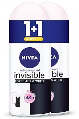 Αποσμητικό Rollon Nivea Black & White Clear Invisible 50ml 1+1 Δώρο