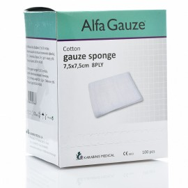 Alfa Gauze Αποστειρωμένο Επίθεμα Γάζας 7,5x7,5cm 8PLY 100τεμ.