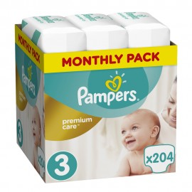 Pampers Monthly Pack Premium Care No 3 (5-9 Kg) 204Τμχ