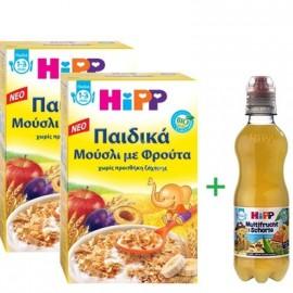 HiPP Promo Παιδικά Μούσλι με Φρούτα 1-3 Ετών 2x200gr & ΔΩΡΟ Hipp Βιολογικός Χυμός Φρούτων 0,3lt