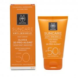 Apivita Suncare Anti-Wrinkle Face Cream SPF50, Αντιρυτιδική Προσώπου με Ελιά & 3D Pro-Algae 50ml
