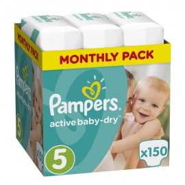 Pampers Monthly Pack Active Baby Dry No 5 (11-18Kg) 150Τμχ