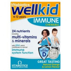 Vitabiotics Wellkid Immune Chewable, Συμπλήρωμα Βιταμινών για Παιδιά, Γεύση Λεμόνι-Πορτοκάλι, 30Μασώμενες Κάψουλες
