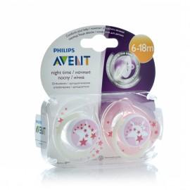 Avent Ορθοδοντική Πιπίλα Νύχτας 6-18 Μηνών Ροζ