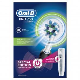Oral-B Pro 750 3D CrossAction Special Edition Black Ηλεκτρική Οδοντόβουρτσα με ΔΩΡΟ Θήκη Ταξιδίου, Χρωμα Μαύρο