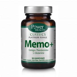 Power Health Classics Platinum MEMO+, Ginkgo, L-Glutamine & Theobromine, 30 κάψουλες
