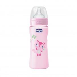 Chicco Πλαστικό Mπιμπερό Well Being 0 BPA 4m+ Ροζ, Θηλή Σιλικόνης Γρήγορης Ροής 330ml (70735-11)