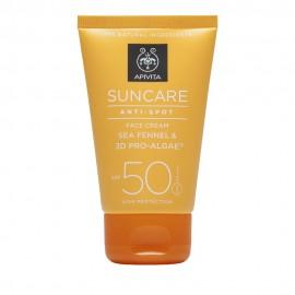 Apivita Suncare Anti-Spot Face Cream SPF50, Κατά των Πανάδων με Κρίταμο & 3D Pro-Algae 50ml