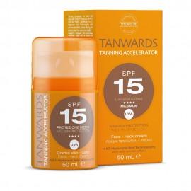 Synchroline Tanwards Tanning Accelerator SPF15, Κρέμα Επιτάχυνσης Μαυρίσματος Προσώπου/Λαιμού 50ml
