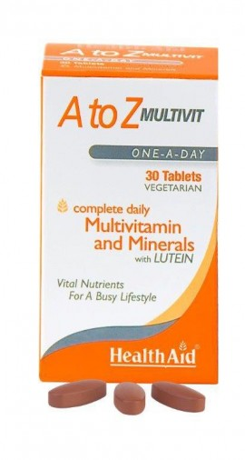 Health Aid A to Z Multivit and Minerals with Lutein, Πολυβιταμίνες,  30 tabs vegan