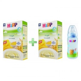 Hipp Κρέμα Δημητριακών Κεχρί με Ρύζι & Καλαμπόκι 2x250gr 4m+ & Δώρο Μπιμπερό Nuk