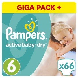 Pampers Active Baby Dry No6 Giant (15+ Kg) 66Τμχ