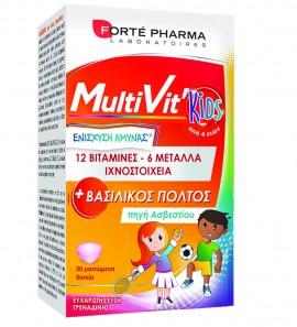 Forte Pharma MultiVit Kids Παιδική Πολυβιταμίνη Με Βασιλικό Πολτό, Βιταμίνες και Μέταλλα 30 Μασώμενα Δισκία