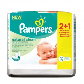 PAMPERS Natural Clean Wipes , 2+1 ΔΩΡΟ 3 x 64 τμχ