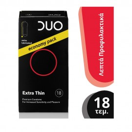 DUO Premium Extra Thin Economy Pack Πολύ Λεπτά 18τμχ