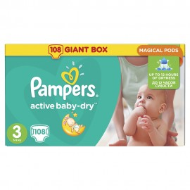 Pampers Active Baby Dry No3 Giant (5-9kg) 108Τμχ