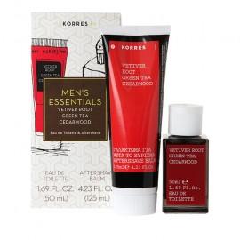Korres Men's Essentials Άρωμα Vetiver Root/Green Tea/Cedarwood 50ml & ΔΩΡΟ Aftershave Balm 125ml