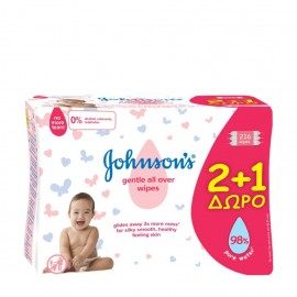 Johnsons Promo Baby Μωρομάντηλα Gentle All Over 2+1 ΔΩΡΟ 216τμχ