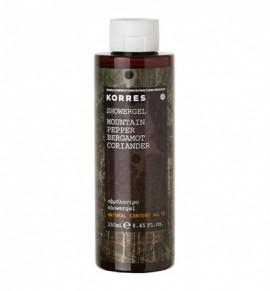 Korres Showergel Mountain Pepper Bergamot Coriander, Ενυδατικό Ανδρικό Αφρόλουτρο 250ml