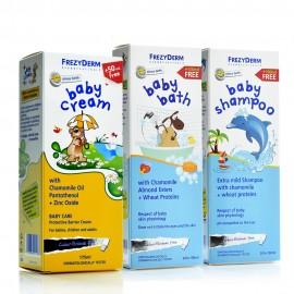 Frezyderm Πακέτο Προσφοράς 3 Τεμαχίων, Baby Cream 175ml, Baby Bath 300ml, Baby Shampoo 300ml