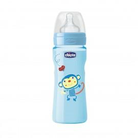 Chicco Πλαστικό Mπιμπερό Well Being 0 BPA 4m+ Γαλάζιο, Θηλή Σιλικόνης Γρήγορης Ροής 330ml (70735-21)