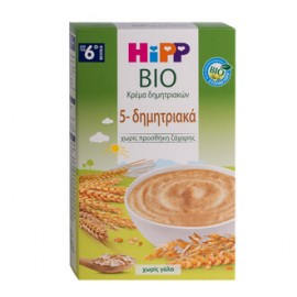 Hipp Bio Κρέμα 5-Δημητριακών 6m+ Χωρίς Ζάχαρη 200gr