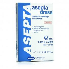 Asepta Dress, Αυτοκόλλητα Επιθέματα Υποαλλεργικά Αποστειρωμένα 5cm x 7,2cm 5τμχ