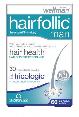 Vitabiotics Wellman Hairfollic Man, Hair Health, Φροντίδα των Μαλλιών Ειδικά για Άνδρες, 60 tablets