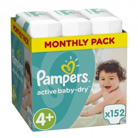 Pampers Monthly Pack Active Baby Dry No4+ (9-16 kg) 152Τμχ