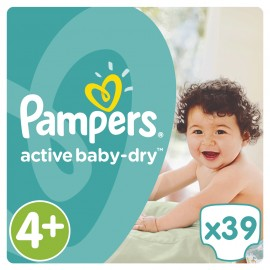 Pampers Active Baby Dry No4+ (9-16kg) 39Τμχ